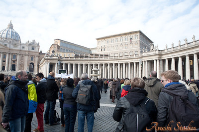 The crowd in the St Peter's square who came for the weekly papal blessing.