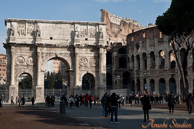 Another view of the arch of Constantine and the Colosseum. The second day of our trip was sunny and we saw the colosseum in the usual setting of buzzing crowds all around.