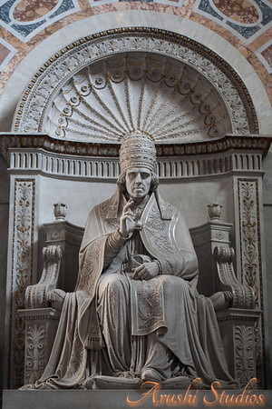 "Statue of Pope Pius VII The dignified effigy of the pope shows fatigue and the signs of"" his long exile, and yet he is portrayed as blessing both friends and enemies alike."