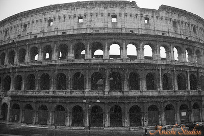 This is the Roman Colosseum. We were fortunate to see the colosseum on a snowy day. The last time Rome had a snow fall was 25 years ago.