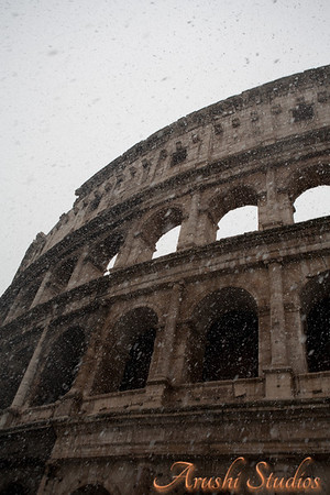 We just stood still seeing the colosseum with the snow falling from the far above skies. It was a breathtaking view that we will remember for life.