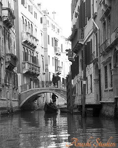 A view of the smaller canals that crisscross venice.