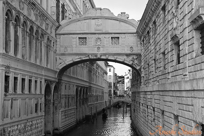 "This bridge is called the ""Bridge of Sighs"". It is between the palace on the left and the prison on the right. Prisoners used to be taken through this bridge after their final hearing and the grill you see on the bridge was the last view of the sky before they were imprisoned forever underground."
