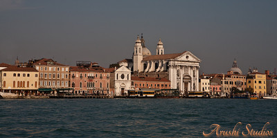 View of Venice from the lagoon as we approached St Mark's place from the parking island.