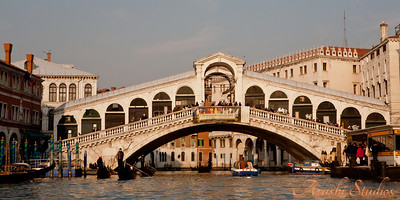 View of the Rialto bridge from our gondola.