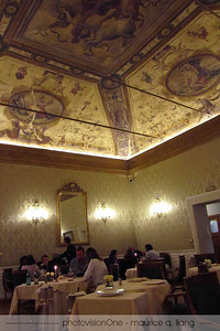 Jessika's first dinner in Italy - at I Carracci.  Note the artwork on the ceiling.