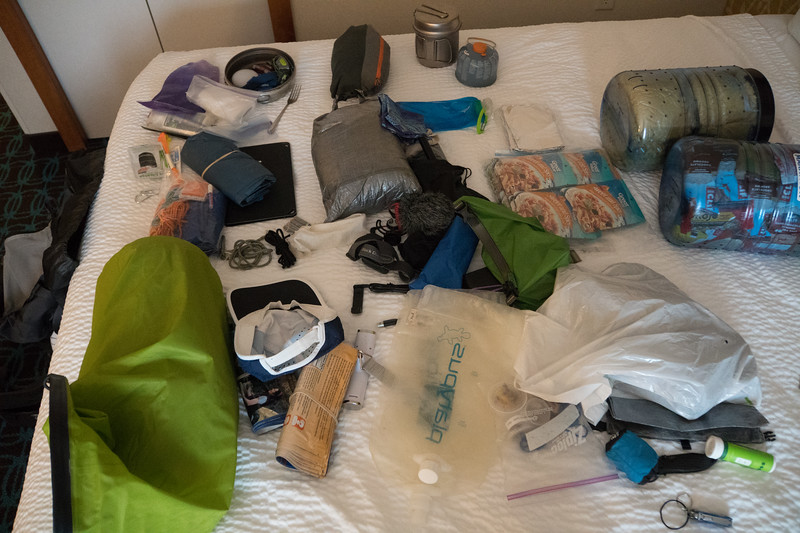 The contents of Ben's backpack. What to leave behind...