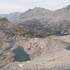 At the top of Glen Pass, looking toward Rae Lakes - the three farthest lakes