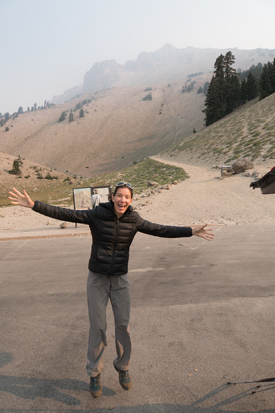 Noreen's excited to hike to the top of Lassen Peak.