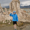 Mono Lake. Keira has some brine shrimp trapped in her water bottle.
