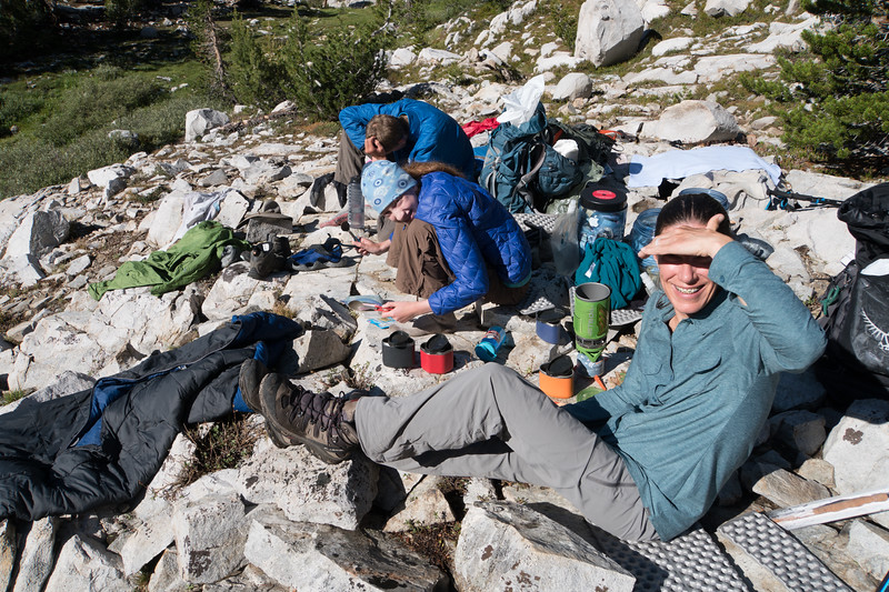Breakfast in the sun after a high river crossing, and drying out the gear that got wet the day before.