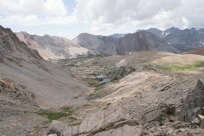 From the top of Pinchot Pass, looking back south - note the clouds
