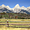 Grand Tetons. Looking north and west.The center peak is the Grand Teton.