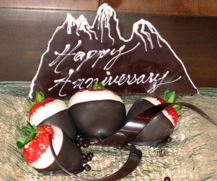 The Four Seasons provided chocolate mountains for Matt and Audra's 4th anniversary