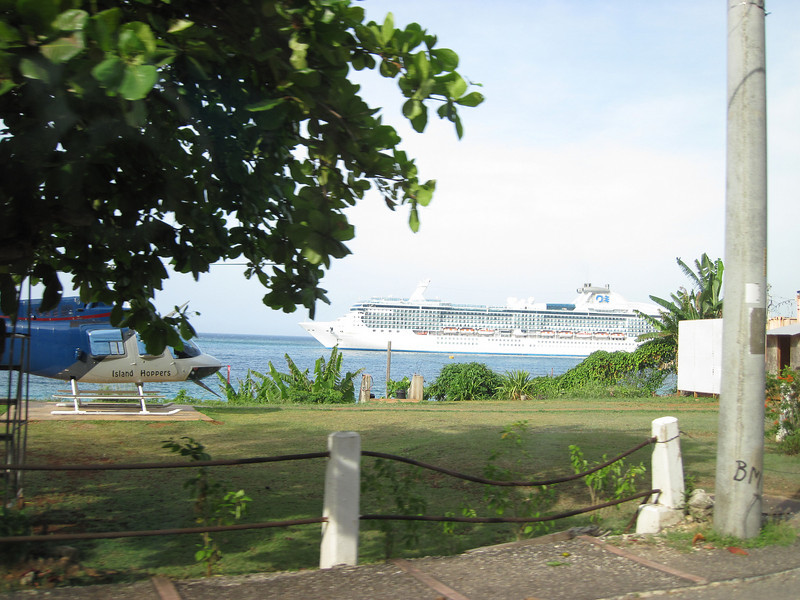 Cruise ship in port in Ocho Rios.
