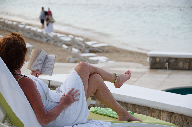 Random lady relaxing with her book