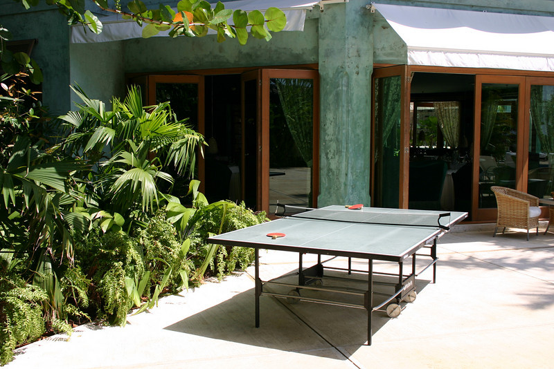 You can play table tennis in the game room, or if you prefer, out on the pool deck.  Good luck finding your ball if it goes into the plants.  The doors in the background are to the Otaheite Restaurant (a little too fancy for Jonathan's taste).