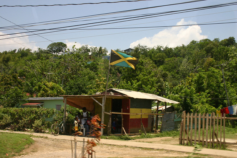 The Jamaican flag, flying proudly!