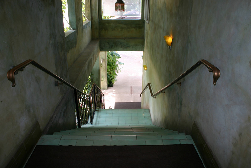 The stairs just past the Piano bar, leading back toward the north side of the resort.