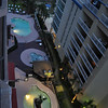 looking down from 10th flr balcony at our pools MB