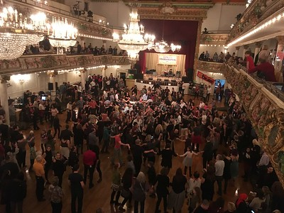 Grand Prospect Hall, Brooklyn, NY.  Golden Festival on Saturday night January 14, 2017.   From the balcony where I'm standing , I can see Ken dancing in the crowd below  (near center of photo).  What a party!  See separate album of 2017 Golden Fest photos:  https://sward.smugmug.com/Music/Festivals/Golden-Fest-2017/