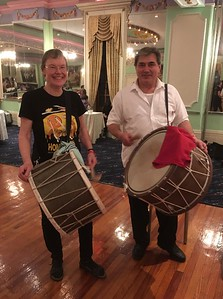 I hadn't brought a drum with me, but suddenly a woman offered hers to me. Yes!  It was fun to play with Ivailo again.  He had been my teacher at one of the EEFC Balkan Camps years ago.