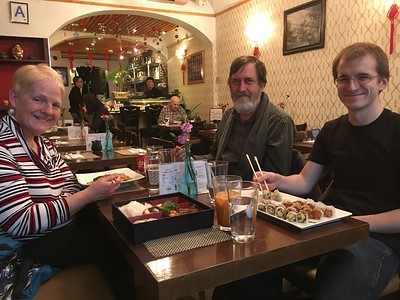 Barbara Freed (with whom we stayed in the Bronx) and Ken and my grandson Aaron, enjoying sushi.
