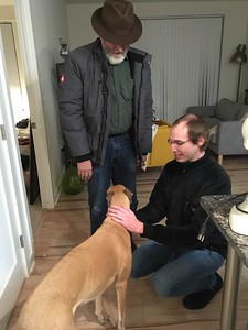 The day after Golden Festival, we took an Amtrak train to Washington, DC. and began another series of visits.  Meeting Adam's dog Finnley, a rescued greyhound.    (Ken and Adam used to work together at Gerber.)