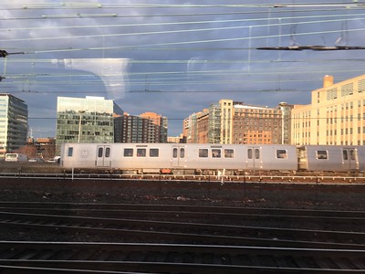 Bright sunlight and interesting patterns as our train left DC.