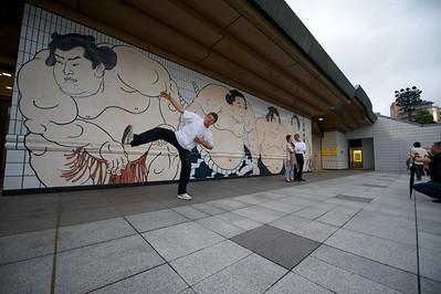 Rob in sumo pose, Tokyo
