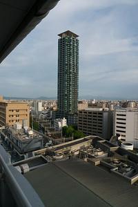 uitzicht vanuit hotel in Osaka (10e verdieping)