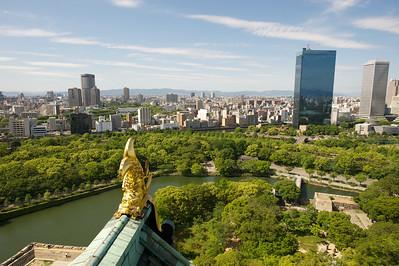 Uitzicht uit Osaka castle