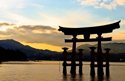 The famous floating Torii gate in Miyajima (宮島), Japan.  This is located near the Itsukushima Shrine (厳島神社).