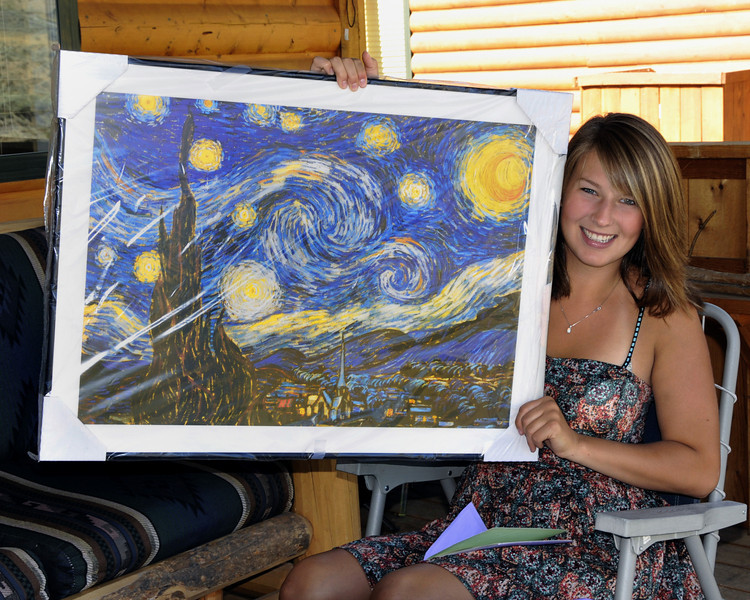 """I sneaked this beautiful Van Gogh """"Starry Night"""" painting I had framed for Jessica all the way to Yellowstone without her knowing it!  She was totally surprised to see it!"""