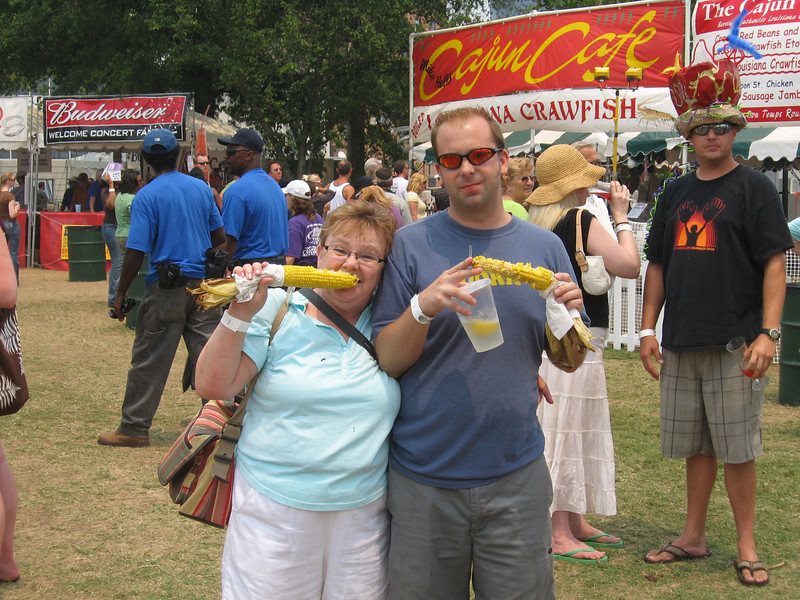 Eric and his Mom chowin' down on roastin' ears at the Cajun Festival in Norfolk.