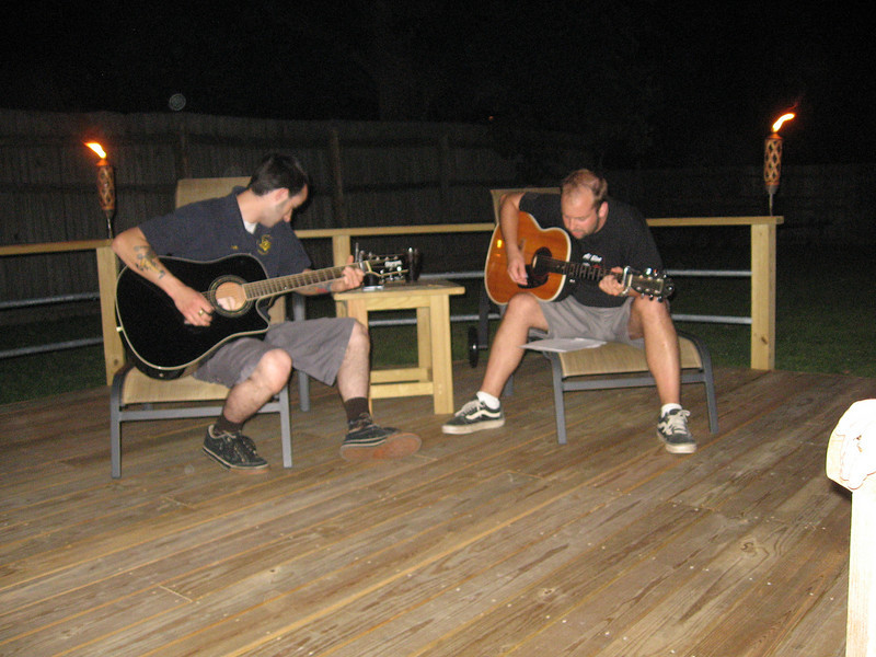 Doug, left, and Eric Woodshedding on Eric's new deck.