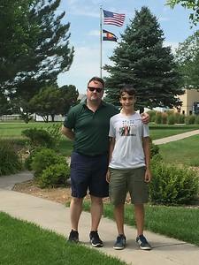 Michael & Aaron under Flags @ Burlington Rest Stop