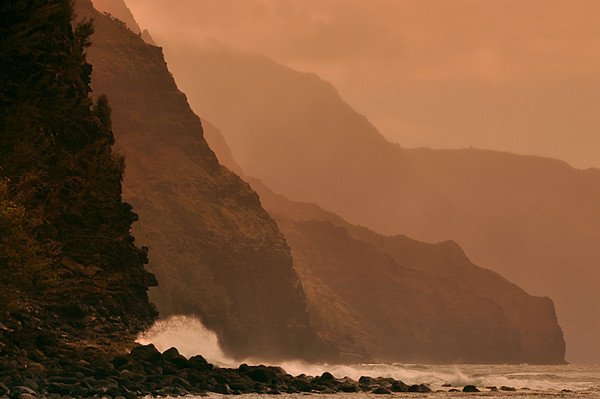 majestic Na Pali cliffs, winter waves, from Ke'e Beach at the end of the road.