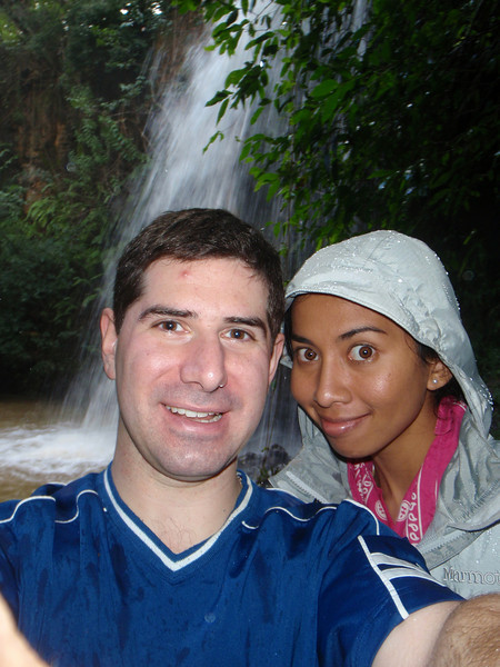 Lavina and I next to a waterfall on Kipu Ranch