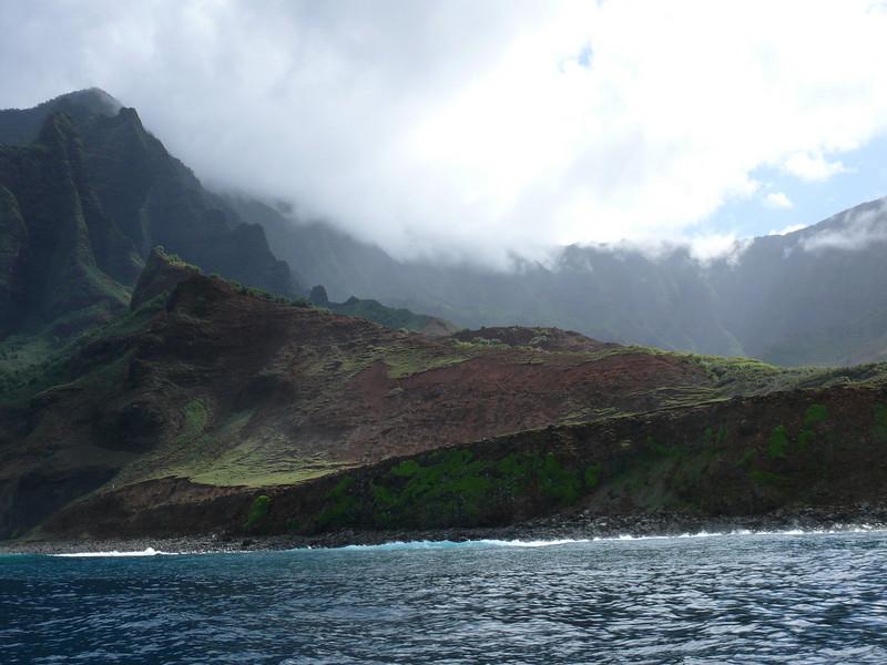 A look at the Kauai coast from the Zodiac Raft heading up to the Na Pali coast