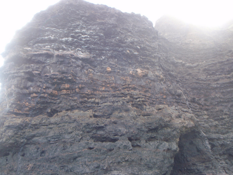 You can see the layers of lava that formed the rock