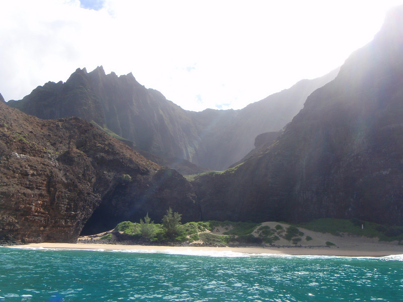 A GORGEOUS beach along the Na Pali coast (Off limits to visitors - no one is allowed to land on the beach)