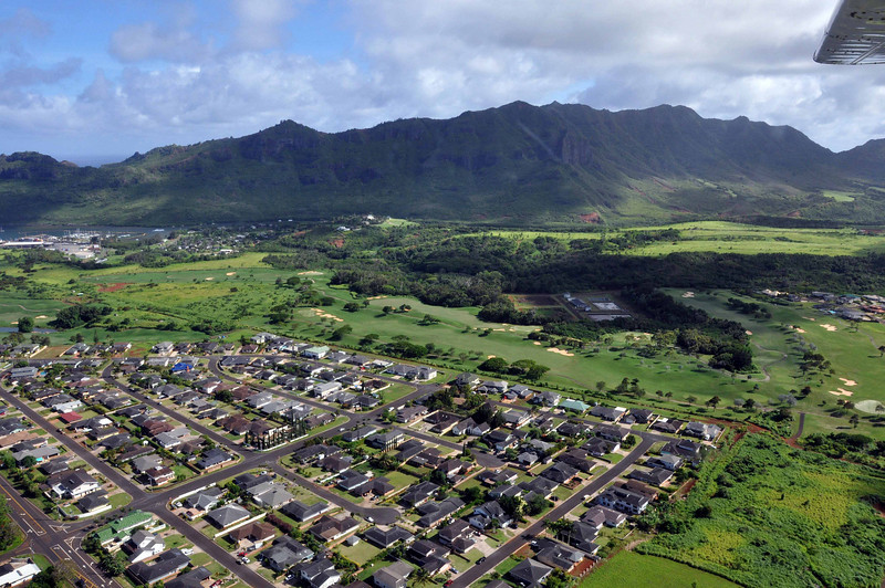 Housing along the approach to the Lihue Airport of Kauai.