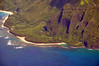 Ke'e Beach (lower right), at the end of the road west of Hanalei Bay, Kauai.