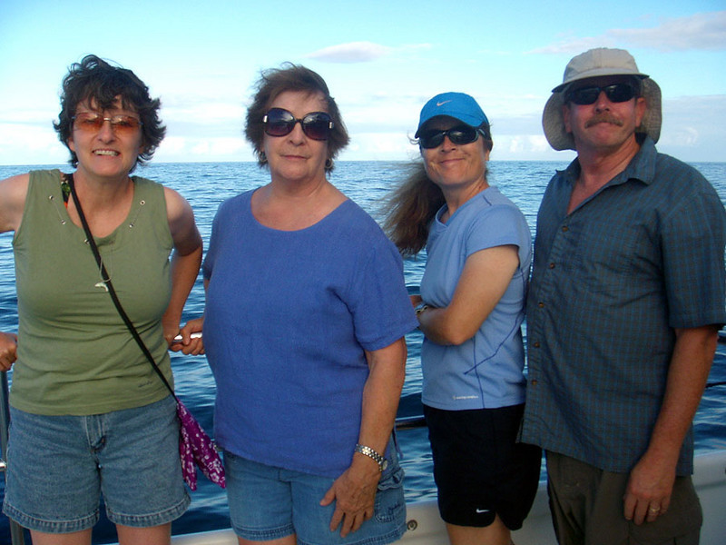 Wendy, Mary (mom), Liz and Sam, aboard the Holo Holo cat.