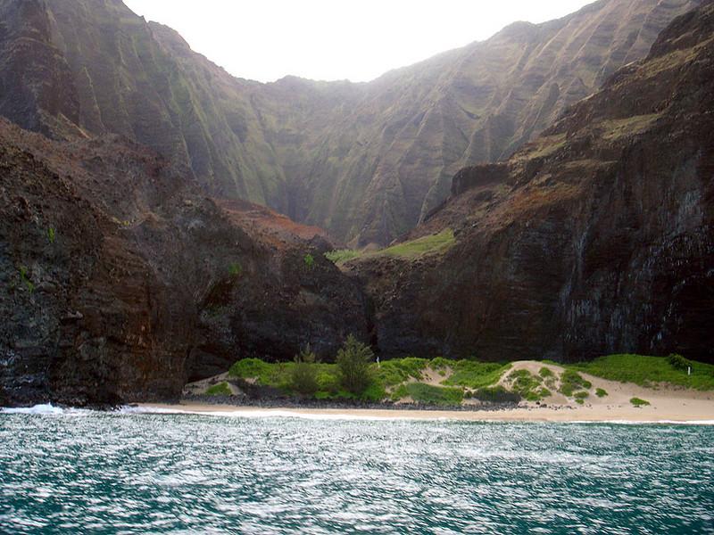 Beaches are small and rare (limited access, if any) on the Na Pali Coast of Kauai (Hawaii).
