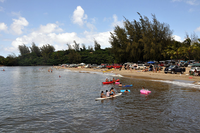 A popular spot in Hanalei Bay, Kauai (Hawaii). Looking toward the eastern side of the bay from the pier.