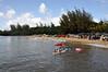 A popular spot in Hanalei Bay, Kauai (Hawaii). Looking toward the eastern side of the bay from the pier.