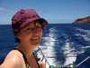 In the unprotected waters, the boat ride is rough, as advertised, heading back to Port Allen on Kauai.