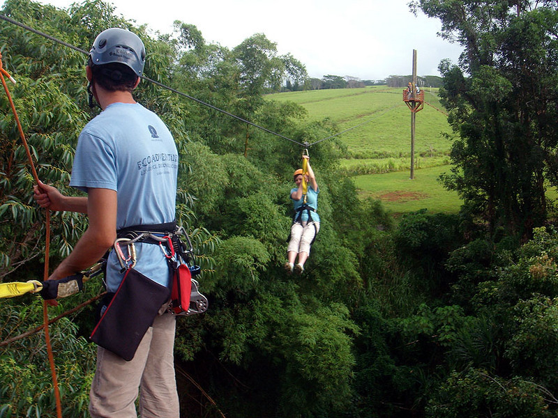 Wendy's 2nd zipline ride, near Lihue, Kauai.